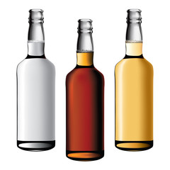 three bottles of alcohol drinks
