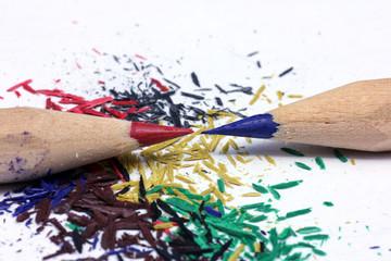 Bleistift spitzen und sein abfall..Sharp pencil and his waste.