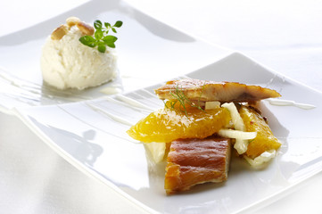 Roasted fillet of smoked salmon with orange