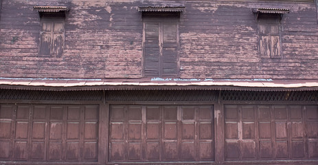 thai style old wood partition wall