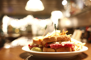 Reuben sandwich and french fries.