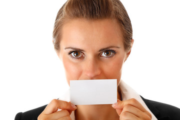 modern business woman holding blank business card in hand