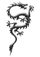 Dragon noir reflets