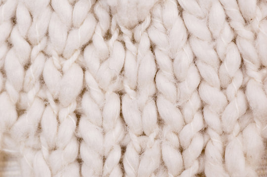 Close up detail of knitted wool
