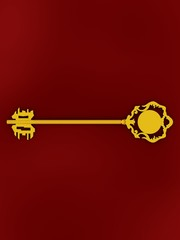 Golden antique key on the red background