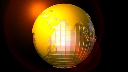 3d абстракция золотой глобус