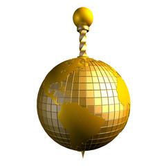 3d абстракция глобус золотой