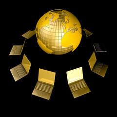 3d копьютер сеть золотой