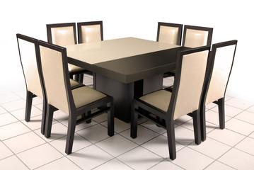 Mesa Comedor de cristal y madera