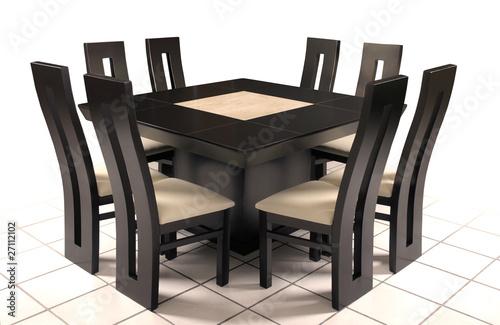 Mesa comedor de madera y marm l fotos de archivo e for Comedor de marmol 8 sillas precio