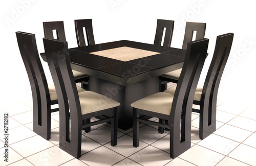 Mesa comedor de madera y marm l fotos de archivo e for Comedor triangular