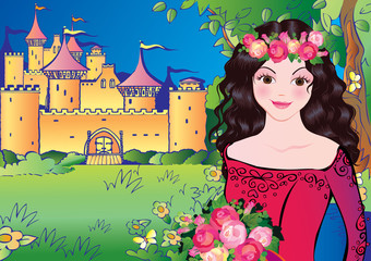 Printed kitchen splashbacks Castle Beautiful princess on landscape background. Fairy-tale.