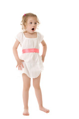 amazed little girl standing on white background