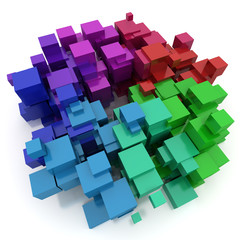 Abstract colourful cubic shape
