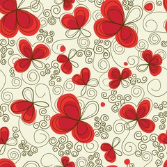 Tuinposter Abstract bloemen Romantic floral seamless background