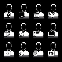 people multimedia icons on black