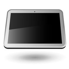 Fictitious touch tablet PC 4 (silver, horizontal view). Editable