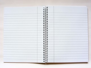 Open notepad with spiral bind