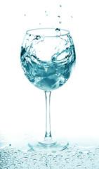 Splash of water in wine glass