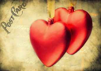 Valentine vintage hearts design - picture in retro style