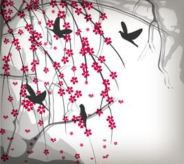 Cherry tree thorns with birds