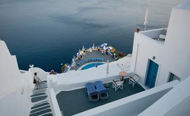 Traditional holiday villas in Santorini Island in Greece