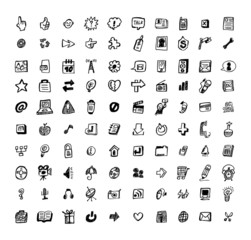100 web doodle icon