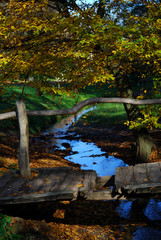 Wooden bridge and stream