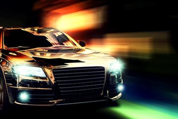 Poster Snelle auto s Nachtfahrt