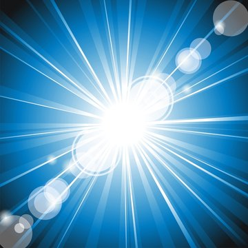 Vector colour ray of lights explosion with lens glare effect.