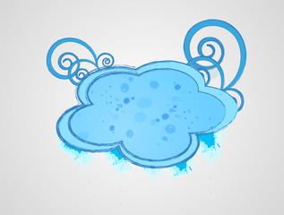 Cloud frame, colored blue
