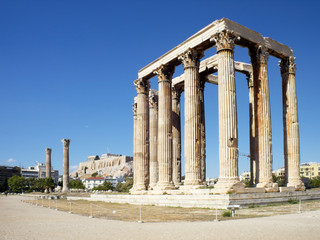 Olympian Zeus temple and Acropolis of Athens, south east view