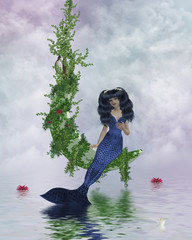 Photo sur Aluminium Mermaid Moon Mermaid