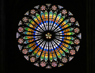 Stained-glass window in Strasbourg Cathedral (France).