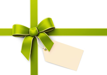 Green silk ribbon with blank tag