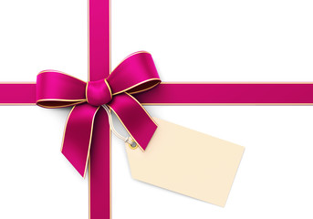 Pink silk ribbon with blank tag