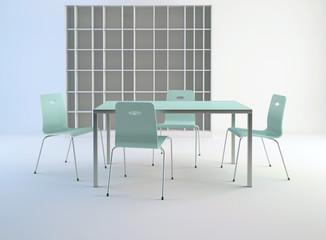 3d interno vuoto da arredare con tavolo azzurro