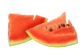 Two Slices Of Red Watermelon On White background