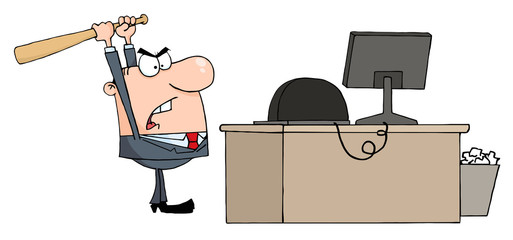Angry Businessman With Baseball Bat In Office