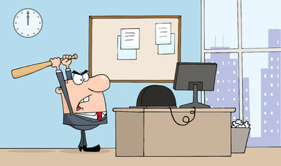 Angry Businessman With Bat In Office