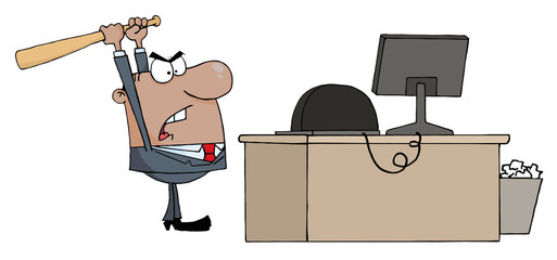 Angry African American Businessman With Baseball Bat In Office