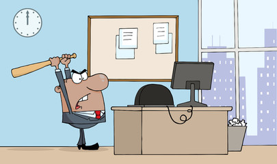 Angry African American Businessman With Bat In Office
