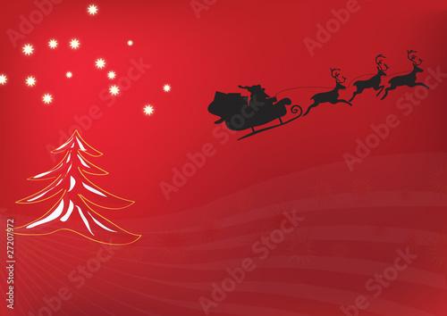 weihnachtsmann fliegt im schlitten ber rote. Black Bedroom Furniture Sets. Home Design Ideas