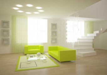 green modern room