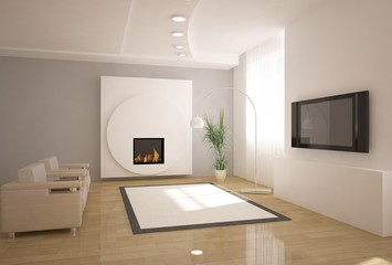 white 3d interior with fire