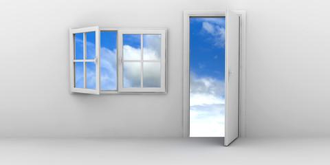 Open window and door