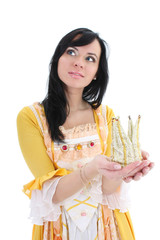 woman in yellow medieval dress with crown over white