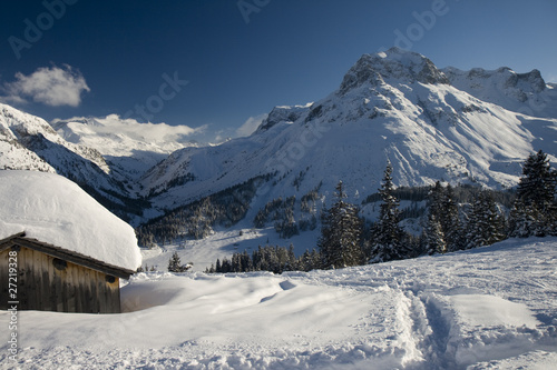 Wall mural Winter at Arlberg Mountains, Lech