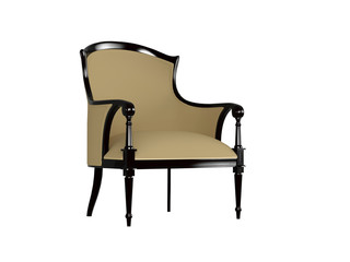 Classic brown armchair, isolated