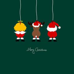 Hanging Santa, Angel & Reindeer